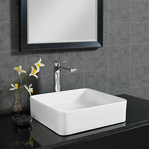 Bathroom Madison Vanity - Swiss Madison SM-VS232 Concorde Slender Ceramic Porcelain Square Vessel Vanity Art Basin Bathroom Sink