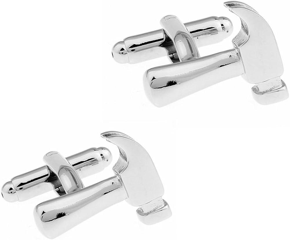 Hammer Cufflinks Silver Smooth Tools Wedding Cuff Links