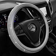 -KAFEEK 15 Inch Diamond Leather Steering Wheel Cover It fits for steering wheels with outside diameter of 14 1/2 to 15 inch. Skidproof, heat resistant.Inside skidproof rubber lining ensures a constant reliable grip. Diamond crystal design for...