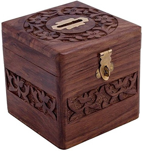 uare Design Carving Work Coin Box,Money Box,Coin Bank Wooden Piggy Bank,Gullak for Kids, Birthday Gift for Kids and Adults, Handmade Wooden Coin Box,Coin Holder,Money Storage Box ()