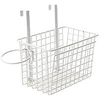 Yardwe Over The Cabinet Door Basket Kitchen Storage Organizer Basket with Hair Dryer Rack (White)