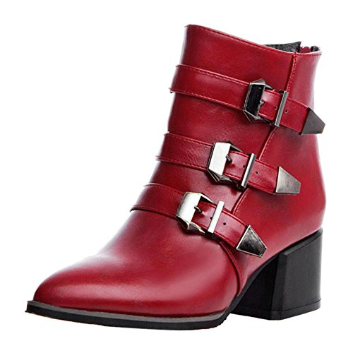 Red Coolcept Bottes Eclair Mode Femmes Arriere Fermeture 7OwqYS7