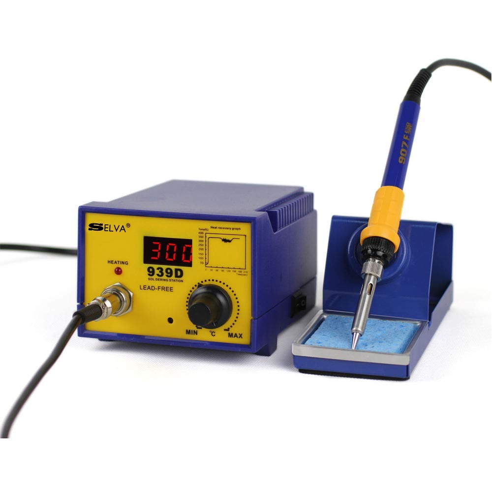 Selva Premium Quality 939D 60W Analog Adjustable Temperature Soldering Iron Station Kit with Switch Soldering Stand Holder & Manual| Heavy Duty 110V Powerful Fast Heating Durable Easy to Carry