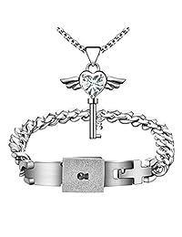 MLOVE Lovers Jewelry Set Mens Heart Lock Bracelet Matching Womens Angel Wings Key Pendant Necklace