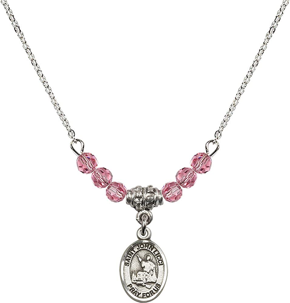 18-Inch Rhodium Plated Necklace with 4mm Rose Birthstone Beads and Sterling Silver Saint John Licci Charm.