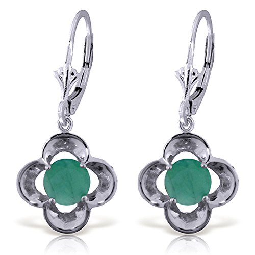 ALARRI 1.1 CTW 14K Solid White Gold Persuasion Emerald Earrings by ALARRI