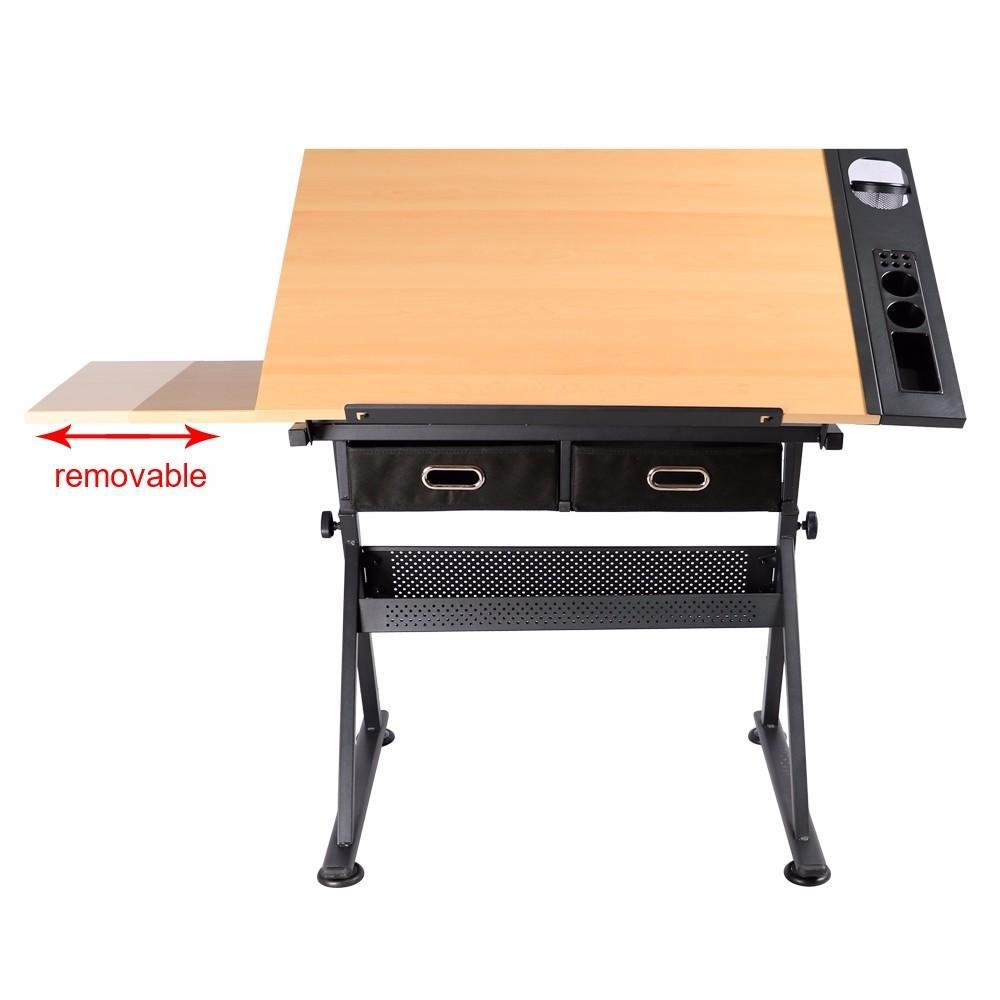 go2buy Drafting Drawing Table Tiltable Tabletop, Adjustable Height, Edge Stopper for Reading, Writing