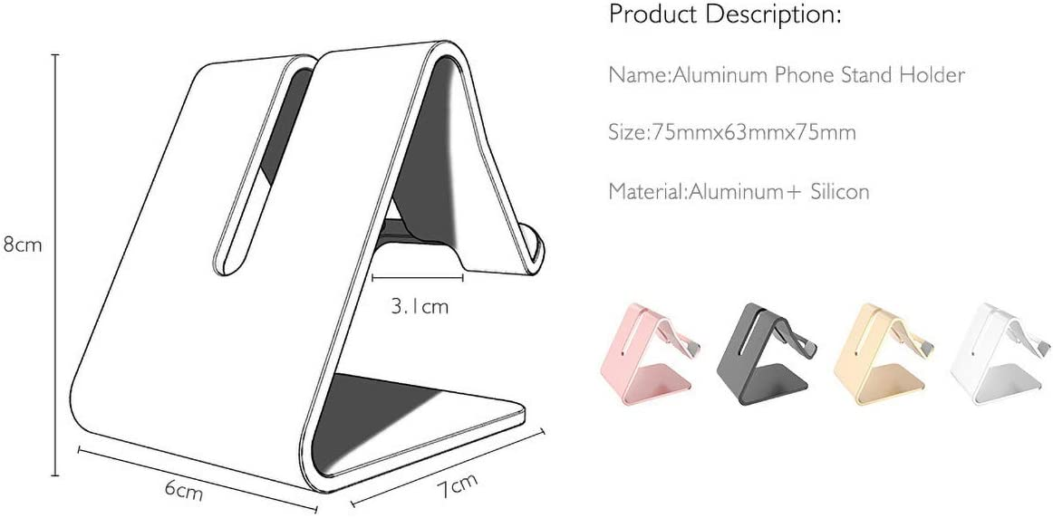 Desktop Cell Phone Stand Fits 3.5-6in Smart Phones 7-10in Tablet PC Aluminum Desktop Cellphone Stand