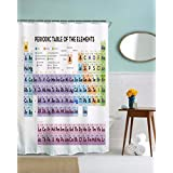 """A.Monamour Periodic Table of Elements Waterproof Mildew Resistant Polyester Fabric Shower Curtain for Chemistry Students Geeky Home Bathroom Decor 165x180 cm / 65"""" x 72"""""""