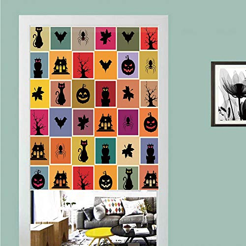 3D printed Magic Stickers Door Curtain,Vintage Halloween,Bats Cats