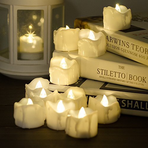 Timer Candles, 12pcs PChero Battery Operated LED Flameless Candles Flickering Tea Light, 6 Hours On and 18 Hours Off Per Cycle, Perfect for Birthday Wedding Party Home Decor - [Warm (Halloween Decoratins)
