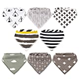 Baby Bibs,8 Packs Baby Bandana Drool Bibs, Unisex Stylish Design for Boys & Girls, Highly Absorbent Soft 100% Organic Cotton with Adjustable Snaps for Teething (Pattern 3)