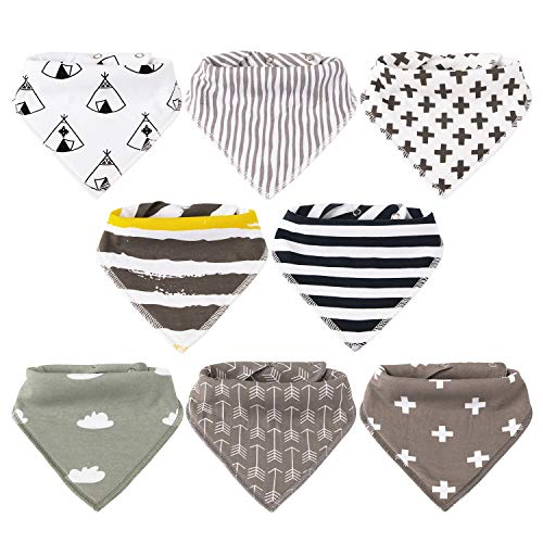Baby Bibs,8 Packs Baby Bandana Drool Bibs, Unisex Stylish Design for Boys & Girls, Highly Absorbent Soft 100% Organic Cotton with Adjustable Snaps for Teething