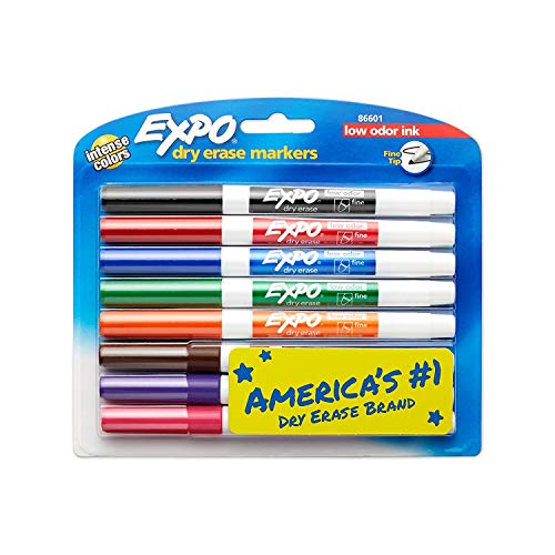 2 sets of 8 Expo Fine Point, Low-Odor, Dry Erase Assorted Markers, Total of 16 -