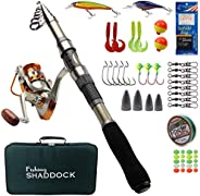 Telescopic Fishing Rod and Reel Combo Set- Carbon Fiber Telescopic Spinning Fishing Pole Fishing Tackle Box wi