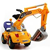 Baby : Digger scooter, Ride-on excavator, Pulling cart, Pretend play construction truck (color may vary) by POCO DIVO