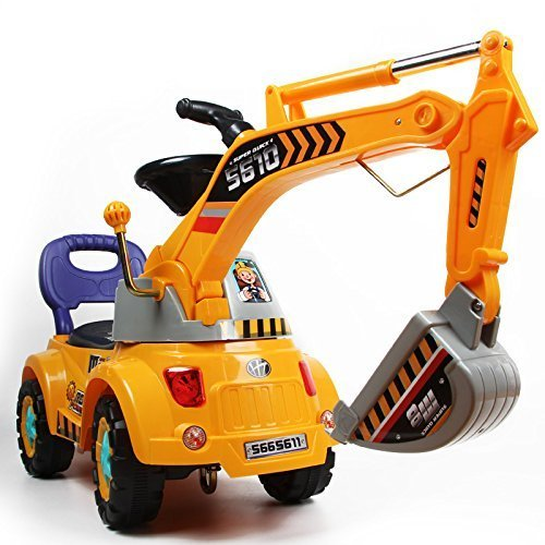 Digger scooter, Ride-on excavator, Pulling cart, Pretend play construction truck (color may vary) by POCO DIVO (Excavator Kids)