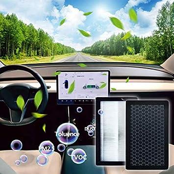 Confezione da 2 con Filtri Aria Abitacolo di Ricambio per Condizionatore dAria Un Carbone Attivo Bestlymood per Filtro Aria Modello 3 HEPA Tesla
