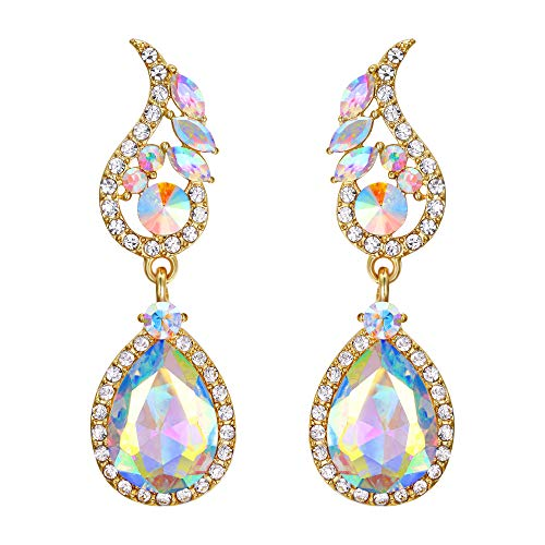 Flyonce Bridal Teardrop Lover Austrian Crystal Dangle Earrings for Women Wedding Clear AB Gold-Tone ()
