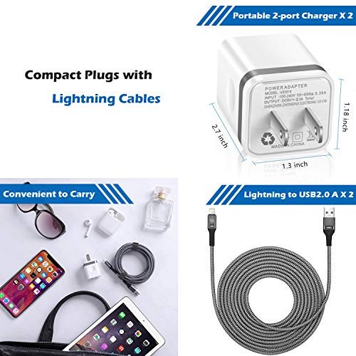iPad Mini 4in 1 Pack 10FT Long Charging Cable and 2.1A//5V Dual Port USB Wall Charger Block Cube Compatible with iPhone 10//XS//XR//X 8//7//6 Plus SE//5S//5C WHIRELEAST Phone Charger with Wall Plug 6FT