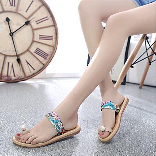 Tongs Lumino Femmes Scarpe Pearl Femmes Sandales Chaussures Femmes Pantoufles blue d'été Plage Mujer F8Frwxpq