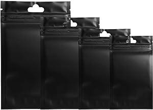 100 Pcs Metallic Matte Plastic Ziplock Bags Clear Front Hang Hole Aluminum Foil Bags For Food Saver Long Term Food Storage Packaging Black 9x15cm (3.5x6