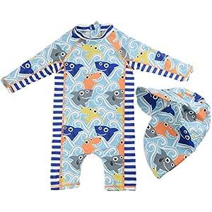vivobiniya Kids Swimsuits Baby Girl Rash Guard Boys Swimsuit with Sun Hats Blue