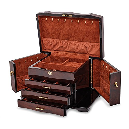 Walnut Burl Inlay 3 Drawer with Swing-out Sides Jewelry Box Luxury Gifts by Roy Rose Gifts