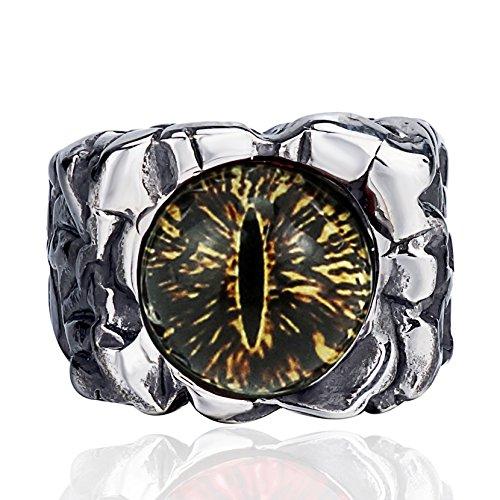 Elfasio Mens Boys Hellfire The Devils eye Brown Stainless Steel Ring Biker Jewelry Size 8-13