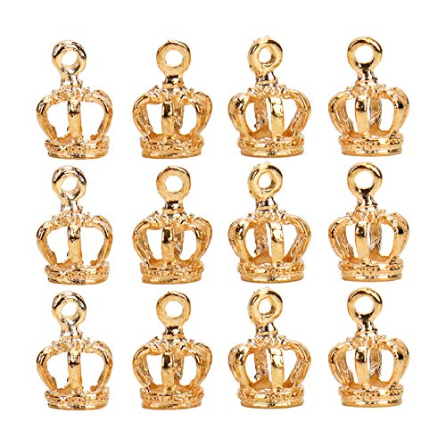 WSSROGY 100Pieces Alloy Antique Crown Charms Pendants for Making Bracelet and Necklace,Gold