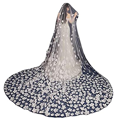 Fenghuavip 1T 3M 4M Cathedral Wedding Veils for Bridals 3D Flower Petals Veils Free Comb