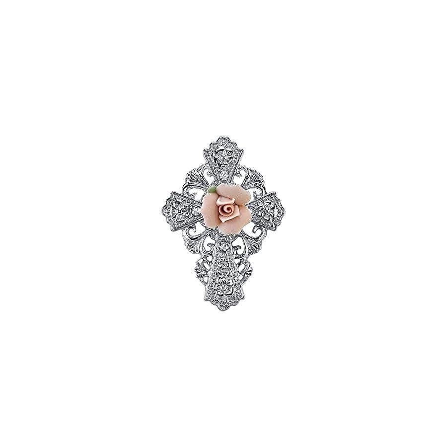 Symbols of Faith Silver Tone Pink Porcelain Rose Cross Pin