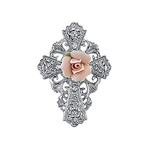 Symbols of Faith Silver Tone Pink Porcelain Rose Cross Pin