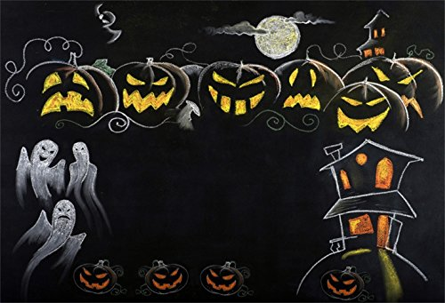 Laeacco Halloween Theme Backdrop 7x5ft Vinyl Photography Background Chalk Drawing Moon Grinning Pumpkin Lamps Ghost Haunted House Grimace Trick or Treat Party Greeting Card Kids Baby Shoot Poster