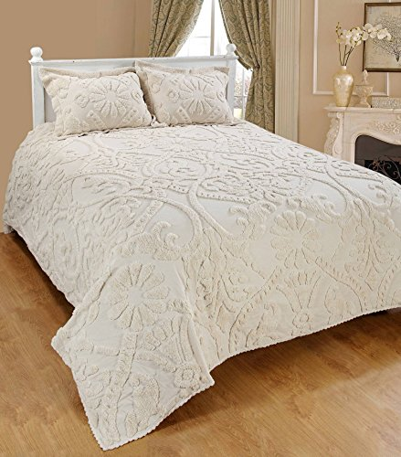 Saral Home Fashions Relief Chenille Bedspread with Two Sham, Queen, Ivory (Bedspread-118x102 inches, Sham-26x20+2 inches)