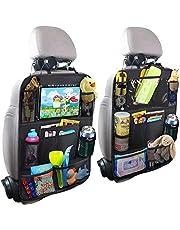 PUBAMALL Organizador para asiento trasero de automóvil y protector con señal de coche para bebé y bebés, asientos de tapicería contra daños