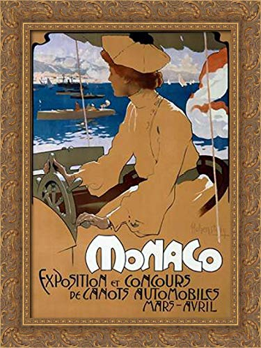 Monaco/ExVintageition de Canots Automobiles 18x24 Gold Ornate Wood Framed Canvas Art by Hohenstein, Adolfo