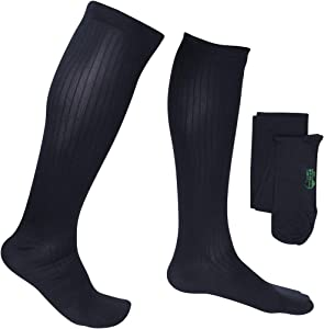 EvoNation Men's USA Made Knee High Graduated Compression Stockings 20-30 mmHg Firm Pressure Orthopedic Medical Quality - Circulation, Travel (Large, Navy Blue)