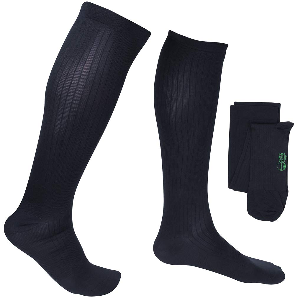 EvoNation Men's USA Made Graduated Compression Socks 15-20 mmHg Moderate Pressure Medical Quality Knee High Orthopedic Support Stockings Hose - Best Comfort Fit, Circulation, Travel (Medium, Navy)
