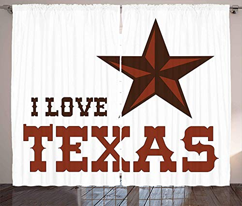 Texas Star Blackout Curtains, Western Culture Motifs with a Quote About Southwest of United States, Home Decoration Window Treatments Thermal Insulated Grommets Darkening Drapes, 2 Panel Set