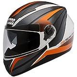 Studds Shifter D2 Decor Full Face Helmet Glossy Black with KTM Orange (L - 57 - 58 Cms, Mirror Visor)