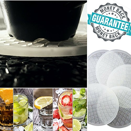 HURRY-LOWEST-PRICE-EVER-set-of-6-Silicone-Drink-coasters-by-tableTops-With-a-Free-eBook-No-Sweat-Deep-Grooves-Transparent-Coasters