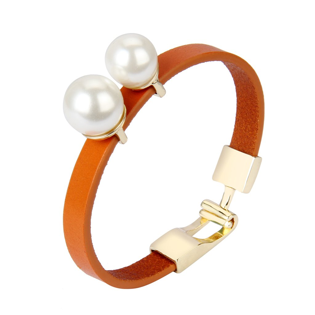 JAOYU Italian Leather Bracelet for Women Pearl Bracelets Cuff Bangle Handmade Jewelry with Alloy Buckle