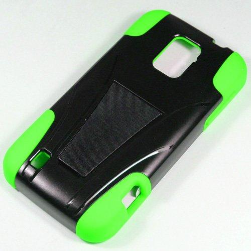 Saapni ZTE Rapido LTE Z932L (Straight Talk) – HYBRID PC/SC Combo Case w/ Kickstand – Neon Green HYB