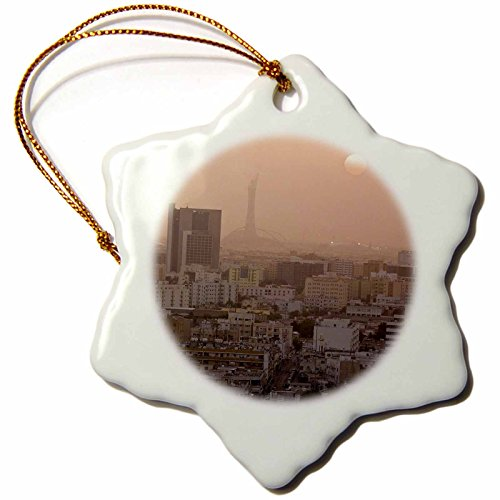 3dRose orn_71166_1 Qatar, Ad Dawhah, Doha View City Skyline at Sunset-AS30 WBI0132-Walter Bibikow-Snowflake Ornament, Porcelain, 3-Inch by 3dRose
