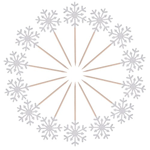 Frienda 30 Pack Snowflake Cupcake Toppers Snowflake Decorations for Kids Birthday Party Christmas Themed Party Baby Shower Wedding Cake Decoration