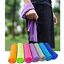 TOPVIP Cooling Towels,Instant Cool Quick Dry Soft Large for Sports Yoga Travel Golf Fishing Gym Fitness Pet Dog Outwork Camping Running Biking&More 40 X 12 inches with big pouch&Carabiner clip&Microfiber cleaning cloth