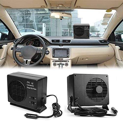 Embiofuels - 2 in 1 Universal DC12V Electric Car SUV Vehicles Portable Ceramic Heating Cooling Dryer Warmer Fan Demister Defroster 150/300W [Black]