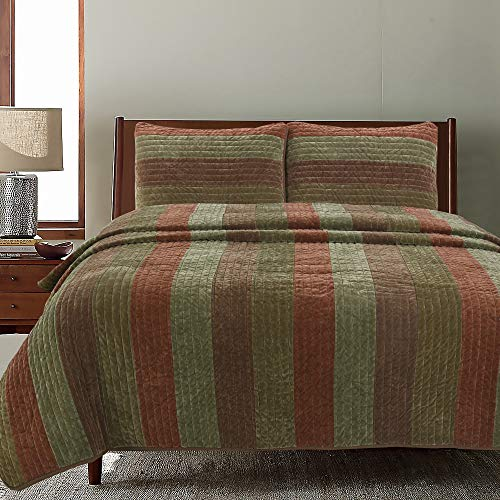Cozy Line Home Fashions Rhett Dark Brown Sage Green Bold Striped Reversible Quilt Bedding Set, Coverlet, Bedspread Set (Brown/Sage, King - 3 Piece) (Sets Green And Brown Quilt)