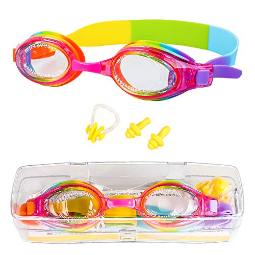 VIPITH Kids Swim Goggles, Swimming Goggles with Nose Clip and Ear Plugs, No Leaking Anti Fog UV Protection with Protection Case, for Kids